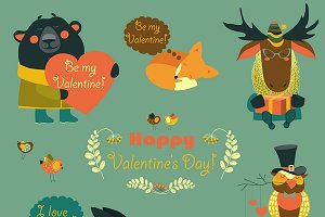 Vector valentines set of fun animals