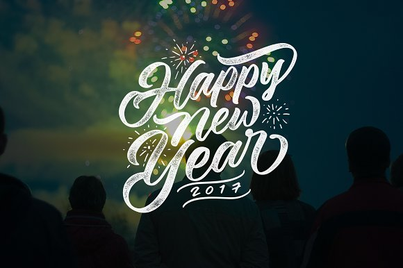Happy New Year Lettering Overlays  - Illustrations