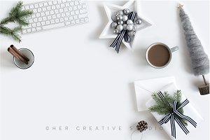 Holiday Image Grey, White & Blue