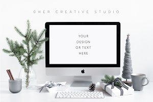Computer Holiday Mockup Grey