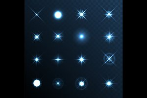 Light Glow Flare Stars Set