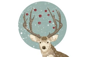 Hand Drawn Christmas Deer