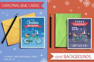 Christmas Bike Cards and Backgrounds
