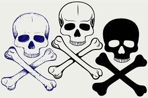 Human skull and crossbones SVG