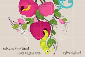 Worm and Apple Clipart Set Scrapbook