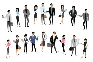 Big set of asian business people