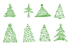 Christmas tree, set, sketch, vector