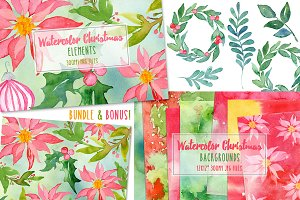 Watercolor Christmas Bundle + Bonus