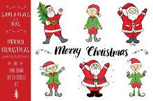 Santa Claus and elfs Christmas set.