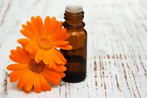 Calendula flowers and massage oil