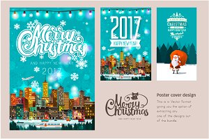 Set of Christmas poster designs