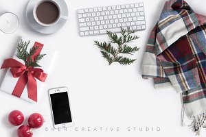 Holiday Iphone Mockup Plaid