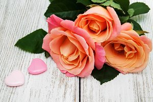 Pink roses with hearts