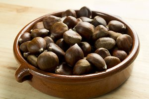 Chestnuts in an earthenware bowl