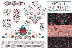 Folk Flowers Patterns & Elements