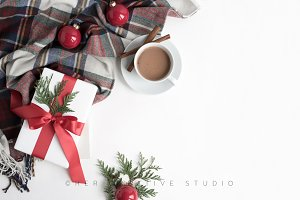 Holiday Mockup Background Plaid