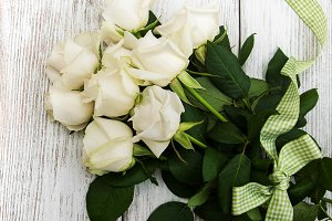 White roses with ribbon