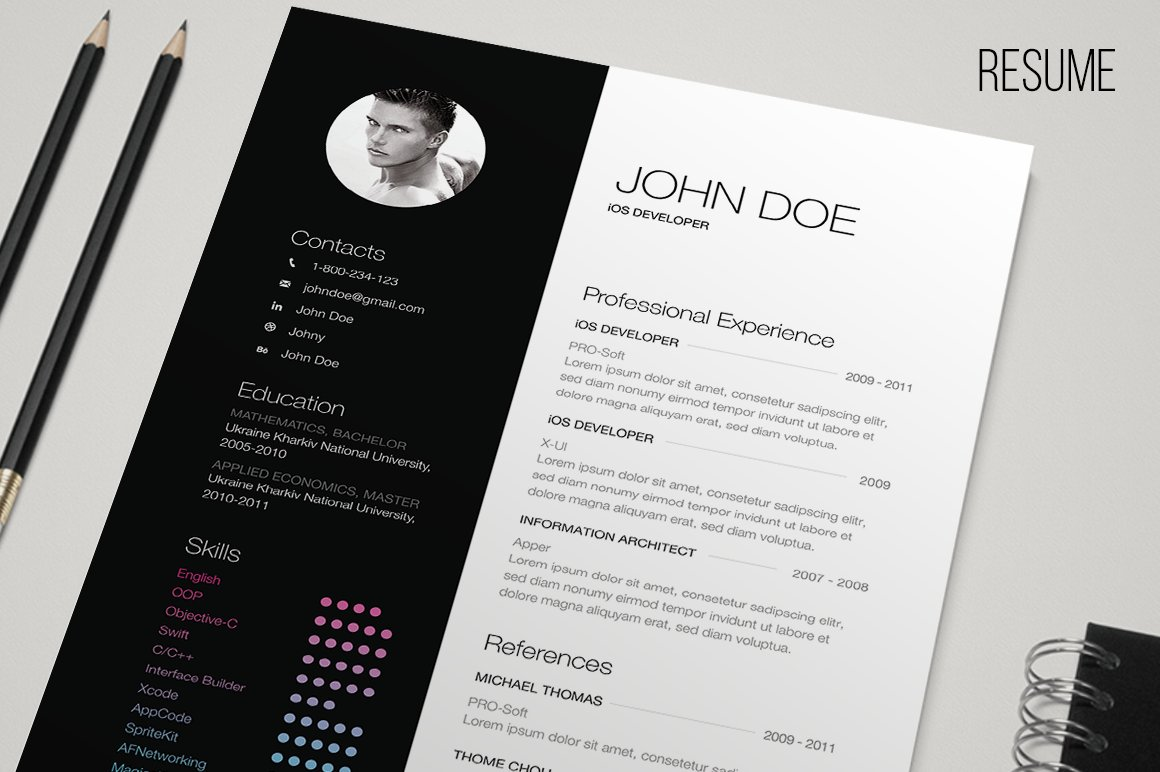b w resume resume templates creative market