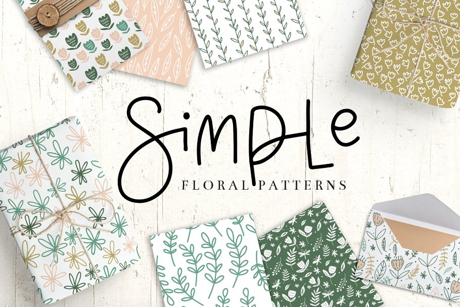 Simple Floral Pattern Collection Graphic Patterns Creative Market