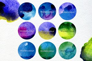 9 Watercolour blots with 2 texture