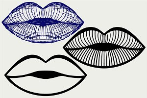 Woman lip mouth kiss SVG