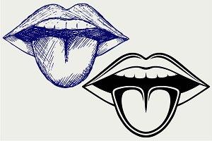 Girl shows tongue SVG