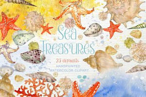 Sea Treasures Watercolor Clipart
