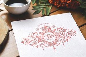 Fleur Vintage Monogram Wedding Logo