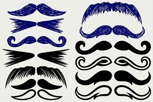 Set mustache human SVG