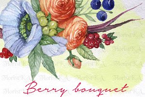 Berry Bouquet Flower Clipart F-12