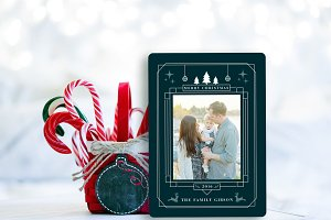 Holiday photo card art deco
