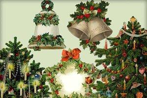 Vintage Christmas Diecuts - 5 PNGS