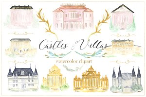 Castles & villas watercolor clipart