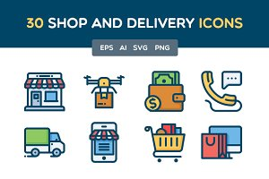Shop and Delivery icon set