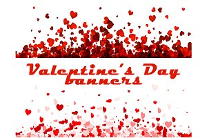 Valentine's Day banners with hearts