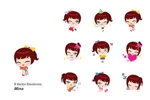 Mina vector emoticons