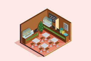 Isometric Illustration - Food Court