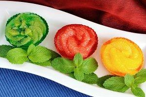 Jelly dessert of fresh fruit (orange