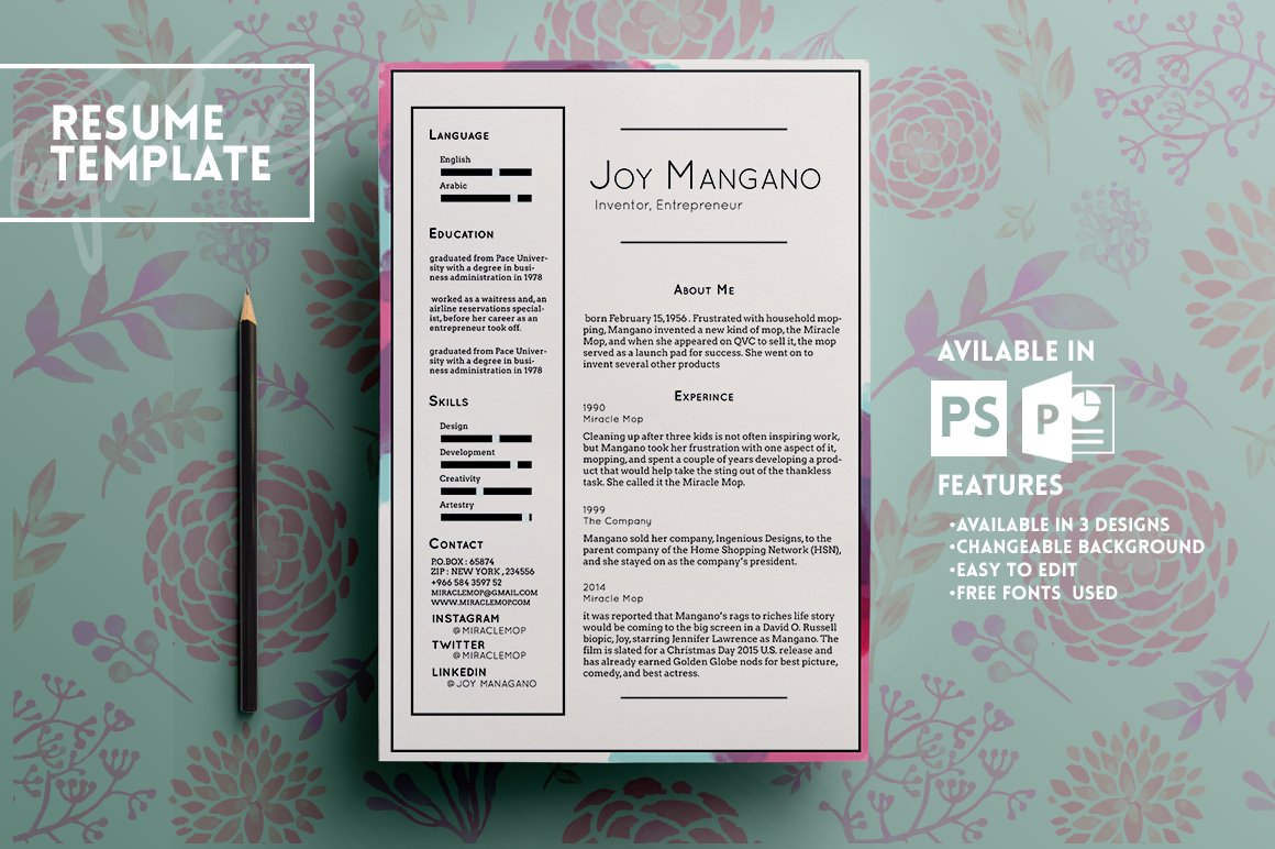 JOY RESUME TEMPLATE ~ Resume Templates ~ Creative Market