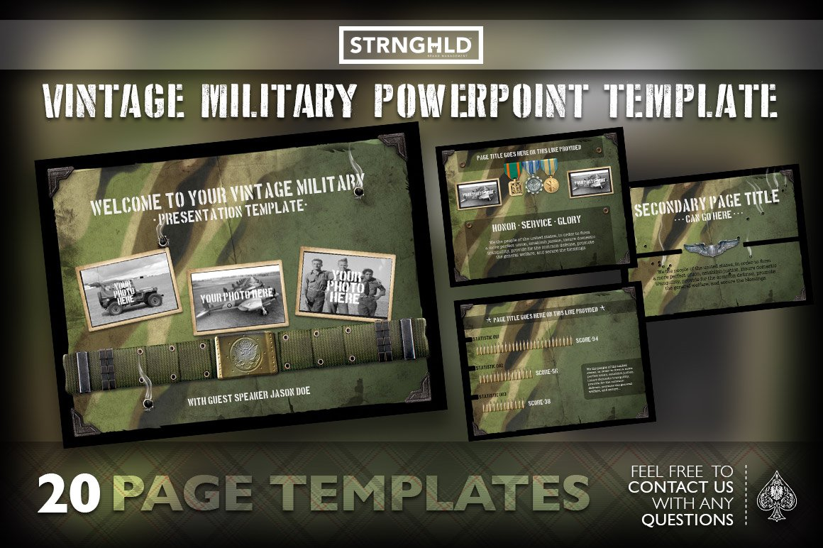 Vintage military powerpoint template presentation templates vintage military powerpoint template presentation templates creative market toneelgroepblik Image collections