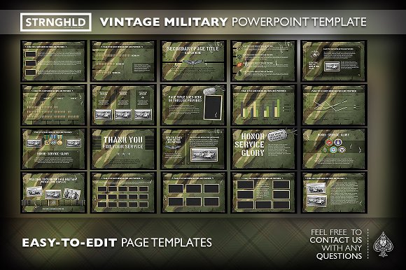 Vintage military powerpoint template presentation templates vintage military powerpoint template presentation templates creative market toneelgroepblik Choice Image