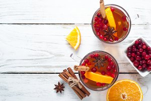 Hot tea with fruit and spices