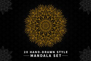 20 Hand-Drawn Style Mandala Set