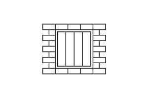 Jail window line icon