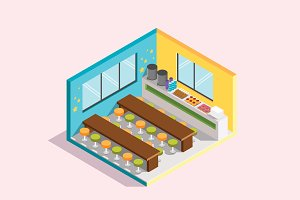 Isometric Illustration - Canteen