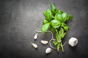 Basil leaves and garlic
