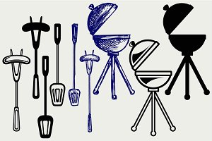 Bbq objects SVG DXF