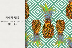 Pineapples abstract vector pattern