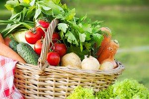 Basket with freshvegetables