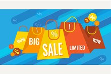 Big sale and discounts banner.